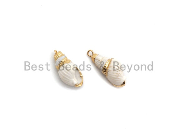 Gold Plated White Conch Sea Shell Pendant, Shell Pendant, Shell Jewelry, Necklace Pendant,12x25mm, Beach Charm,sku#V37