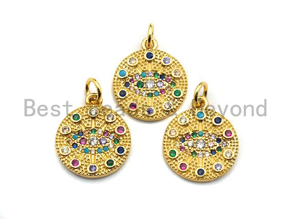 PRE-SELLING CZ Colorful Micro Pave Round  Gold With Evil Eye Pendant, Coin Shaped Pave Pendant, Gold plated, 15x17mm, Sku#F867
