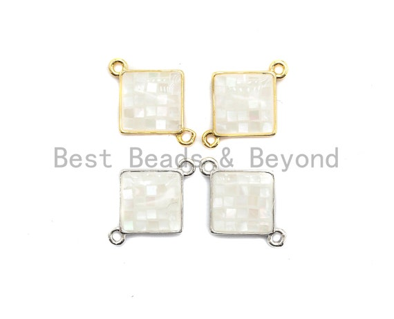 100% Natural White Shell Diamond Shape Connector with Gold/Silver Plated Edging, White Mother of Pearl Charm, Shell Beads, 14x18mm,SKU#Z285