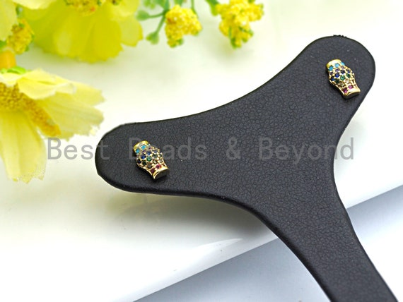 PRE-SELLING Clorful Cz Micro Pave Stud Earring, Vase Shape Earrings, Colorful CZ micro pave earrings, 5x8mm, sku#J86
