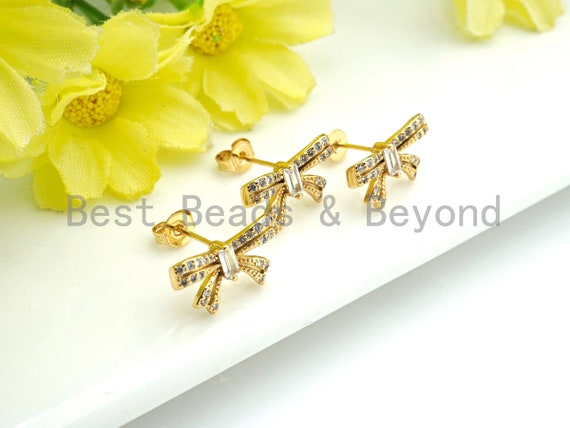 PRESELLING CZ Micro Pave Stud Earring Wires, Bowknot Shape Earrings, Clear CZ micro pave earrings, 10x15mm, sku#J221