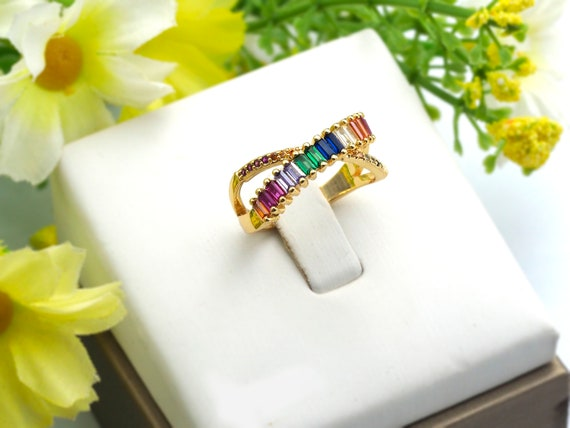 PRE-SELLING Colorful CZ Micro Pave Ring, Crossover Cubic Zirconia Gold Ring, Adjustable Ring, 9x21x17mm,sku#X22