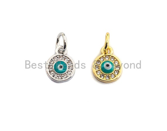 PRE-SELLING CZ Micro Pave Round Evil Eye on Disc Pendant, Cubic Zirconia Pendant, Silver/Gold Tone, 7x9mm, Sku#Z420