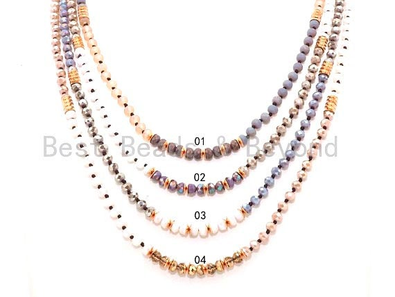 "NEW STYLE 60"" Extra Long Hand Knotted Multi Color Crystal Necklace, Double Wrap Necklace, 4x6mm Faceted Crystal with Brass Spacer, SKU#D28"