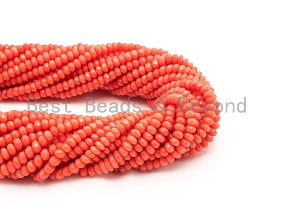 Quality Natural Dyed Orange Coral Beads, 3x5mm Rondelle Faceted Gemstone Beads,Loose Coral Beads, 15.5inch strand, SKU#U118