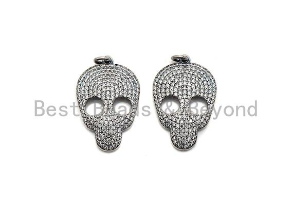 PRE-SELLING Rhodium CZ Micro Pave Skull Head Pendant, Antique Silver Tone, Cubic Zirconia Pave Skull Pendant,18x31mm,sku#X126