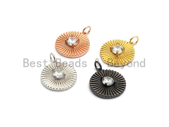 CZ Micro Pave Flower Pendant with Focal Large CZ, Cubic Zirconia Paved Charm, Necklace Bracelet Charm Pendant, 17x19mm,sku#Z257