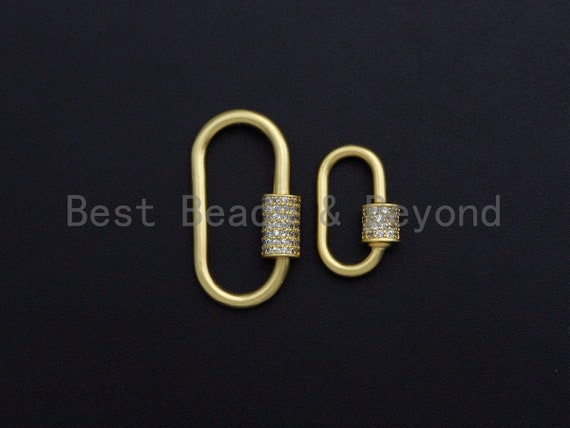 Matte Gold Clear CZ Micro pave Oval Shape Clasp, CZ Pave Clasp, 24K Gold Carabiner Clasp,10x19mm/14x28mm, sku#H204