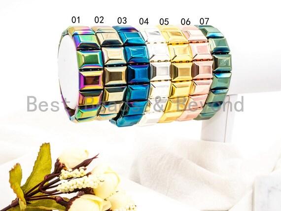 Natural Hematite Stretch Bracelet, Metal Gemstone Beaded bracelet, Links Hematite Beads on Stretch Cord, Elastic bracelet SKU#S68