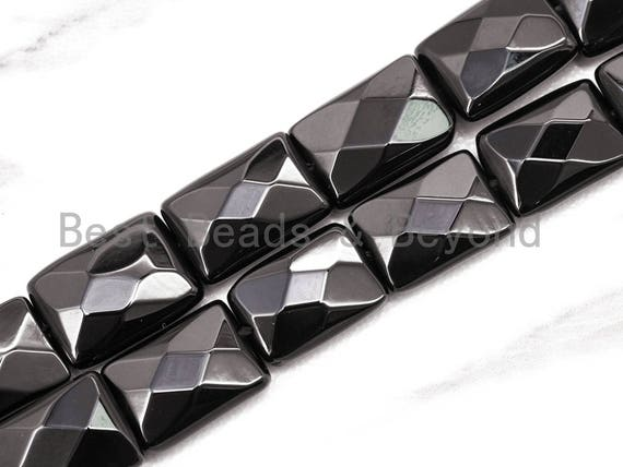 """High quality Faceted Rectangle Shaped Black Onyx Natural Stone Beads, Gemstones Beads, Rectangular Beads,15.5"""" Full Strand, SKU#Q17"""