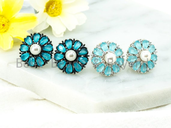 Light Blue Daisy Flower Earring with CZ Micro Pave Studs, CZ Pave Earring in Silver Gunmetal, Cubic Zirconia Earrings,16x16mm,1pair, sku#O49