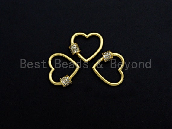 Clear CZ Micro pave Heart Shape Clasp, CZ Pave Heart Clasp, 18K Matte Gold Carabiner Clasp, heart clasp, 18mm, sku#H203