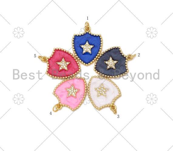 Micro pave CZ Five Point Star On Colorful Enamel Shield Shape Pendant,18K Gold Filled Enamel CZ Star Pendant,Enamel Jewelry,24x18mm,Sku#L593
