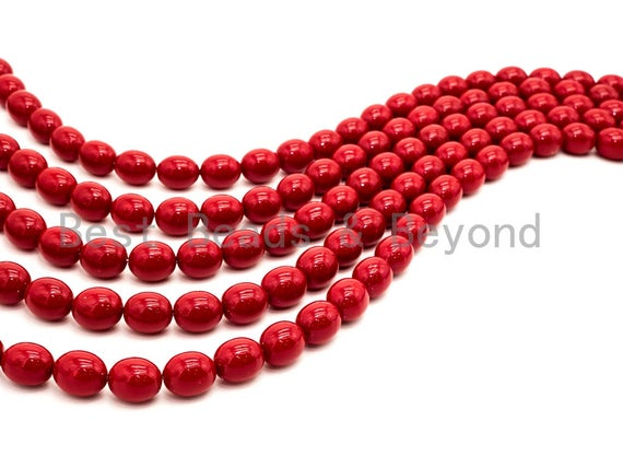 Red Natural Mother of Pearl beads,12x15mm Pearl Oval Barrel beads, Loose Barrel Oval Smooth Pearl Shell Beads, 16inch strand, SKU#T94