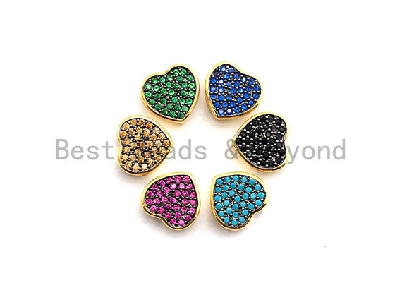 9x4mm Colored CZ Micro Pave Heart Shape Spacer Beads, Fuchsia/Turquoise/Cobalt/Black/Green CZ Gold Plated Beads, Bracelet Beads,sku#E448