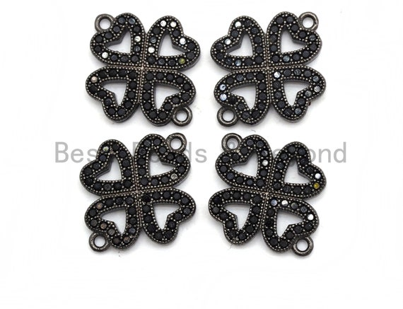 Black CZ Pave On Black Micro Pave Four Leaf Clover Connector,Cubic Zirconia Connector,Fashion Jewelry Findings, 16x19mm, sku#A93