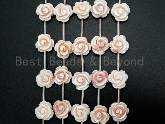 1/15pcs Natural Mother of Pearl beads, 15mm Pink Carved Rose Flower Beads strand, Pink Pearl Shell Beads, SKU#T102