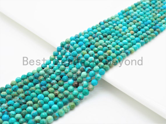 Natural Faceted Round Turquoise beads,2mm/3mm/4mm Tiny Blue Green Gemstone beads, Turquoise beads, 15.5inch strand, SKU#U326