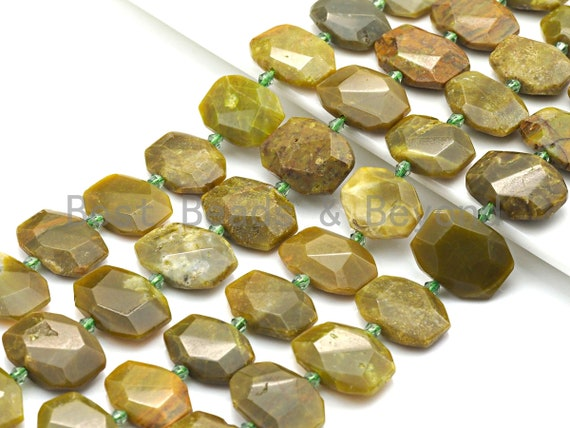 High Quality Natural Yellow Green Opal Rectangle Faceted Beads, Natural Yellow Green Opal beads, 16x22mm, sku#U657
