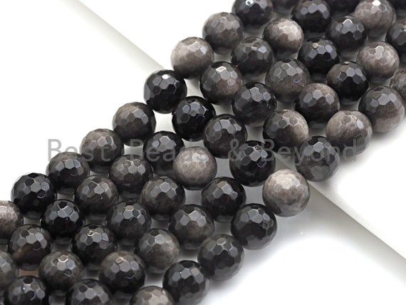 "SPECIAL CUT Natural Obsidian, Round Faceted 6mm/8mm/10mm/12mm/14mm, 15.5"" Full Strand, sku#U725"