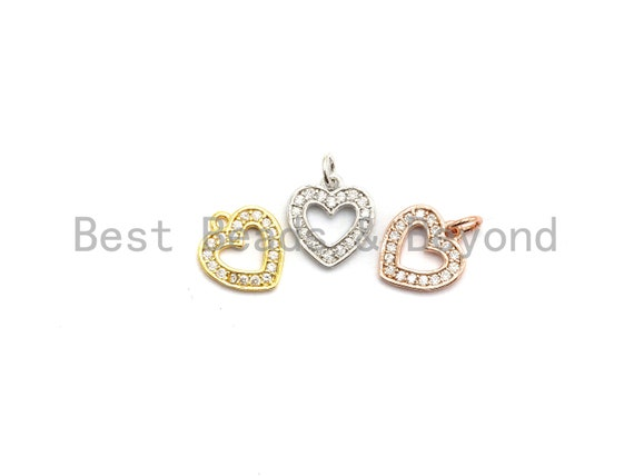 CZ Micro Pave Hollow out Heart Charms Pendant for Necklace/Bracelet, Cubic Zirconia heart Pendant, 9x10mm, sku#Y190