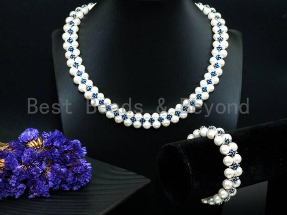 White Pearl Blue Royal Cubic Zirconia Necklace Bracelet Set,Wedding Pearl Jewelry,Double Strand Pearl Bridal Cuff Bracelet, SKU#P18