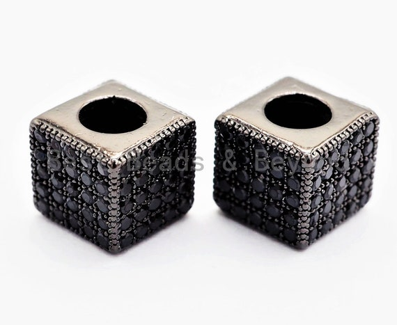 7mm Black CZ Pave On Black Big Hole Cube Spacer Micro Pave Beads, Cubic Zirconia Cube Space Beads, SKU#C77
