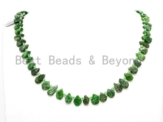 Quality Natural Diopside beads, 11-15mm irregular Teardrop Top drill Green Gemstone Beads, Natural Diopside 15.5inch strand, SKU#U167