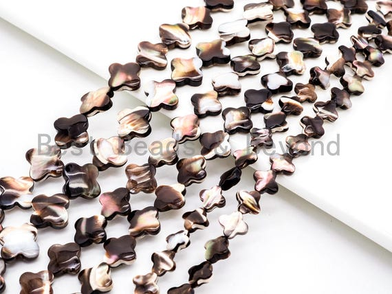 Natural Mother of Pearl beads, 8/10/12/15/18mm Brown Plated Mother of Pearl Four-leaf clover Beads strand, 16inch full strand, SKU#T40