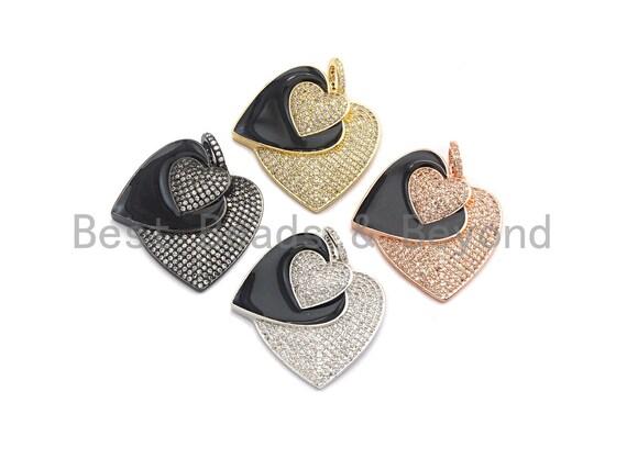 PRESELLING Micro Pave CZ Enamel Three Heart Pendant,Black Enamel Pendant,Enamel Heart Pendant, Oil Drop jewelry Findings,27x29mm,sku#F931