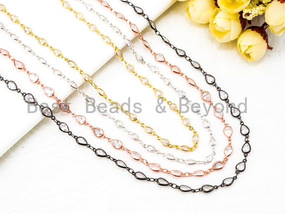 1 Foot/Yard- Teardrop Shaped CZ Beaded Chain-4x6mm Cubic Zirconia Beads-Gold Silver Rose Gold Gunmetal- Rosary Chain, sku#E348