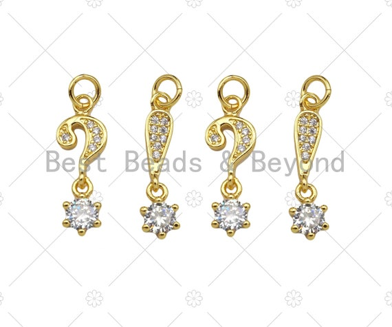CZ Micro Pave Question Mark Exclamation Mark With Big CZ Pendant, 18K Dainty Gold Charm, Necklace Bracelet Charm Pendant,8x14mm,Sku#LK310