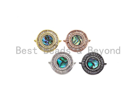 CZ Micro Pave Round Abalone Connector for Bracelet/Necklace, CZ Pave Eye Space Connector Link, 21x26mm, ku#Z939