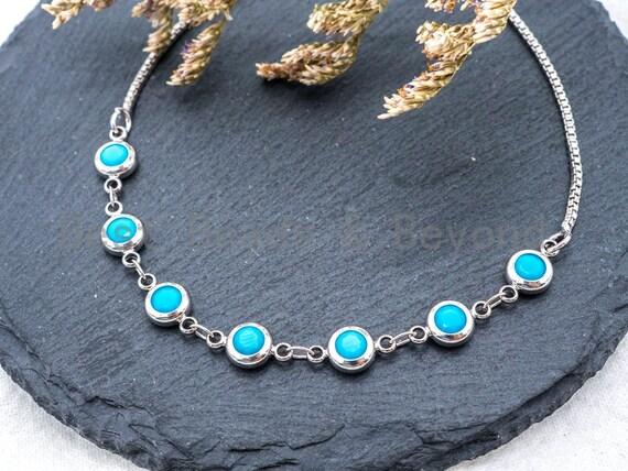 Adjustable Evil Eye Bracelet, Chain bracelet, Link Bracelet, 6mm Turquoise beaded bracelet, Gold Silver Gunmetal Bracelet, SKU#A50