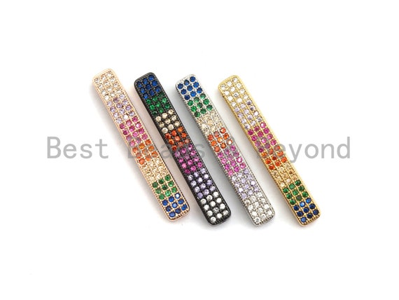 PRE-SELLING Rainbow CZ Micro Pave Bar Connector for Bracelet/Necklace, Link Connector, Spacer Connector, 5x35mm,sku#E429