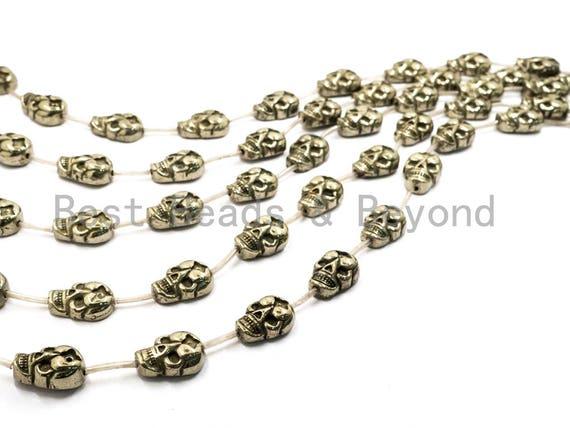 13pcs Natural Pyrite Skull Beads13x18mm, Wholesale Pyrite Gemstone beads, Bulk skull metallic pyrite beads, Full Strand, SKU#W47