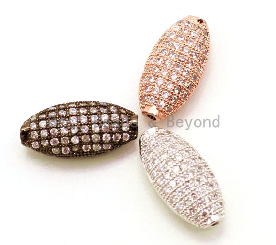 CZ Micro Pave Long Oval Spacer Beads with Clear Crystal for Bracelet/Necklace, Cubic Zirconia Beads, 15x8mm, sku#G25