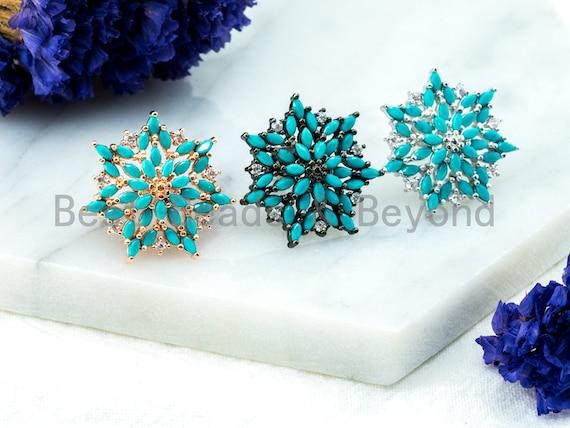 CZ Micro Pave Turquoise Flower Star Ear Studs, Flower Earrings, Cubic Zirconia Earrings, Blue CZ Pave Earring, 20x21mm,1pair, sku#O51