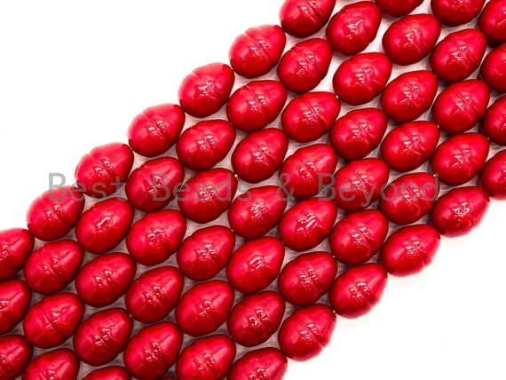 Red Natural Mother of Pearl beads,17x23mm Large Pearl Egg Oval beads, Loose Double Cone Smooth Pearl Shell Beads, 16inch strand, SKU#T88