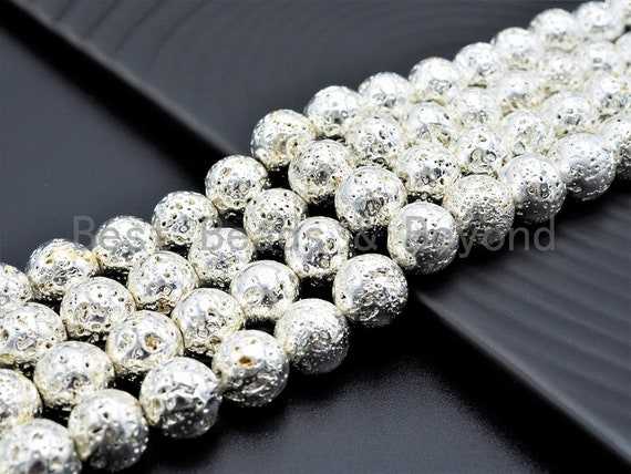 "NEW!!! Silver Plated Lava Round Beads, 4mm/6mm/8mm/10mm/12mm silver Gemstone Beads,15.5"" Full Strand,SKU#S109"