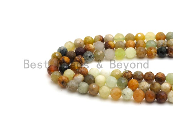Quality Mixed Color Jade Beads, Green Brown Yellow Jade, Round Faceted Beads,6mm/8mm beads, 15.5inch strand, SKU#U431
