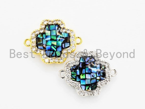 CZ Micro Pave Clover Connector with NATURAL Abalone Shell, Cubic Zirconia Space Connector, 15x20mm, 1pc,SKU#Z248