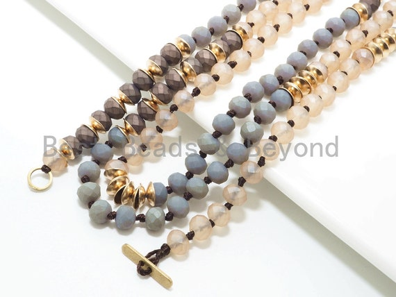 """NEW STYLE 36"""" Long Hand Knotted Multi Color Crystal with Gold Accent Necklace, 4x6mm Crystal with Toggle and Brass Spacer Beads, SKU#D30"""