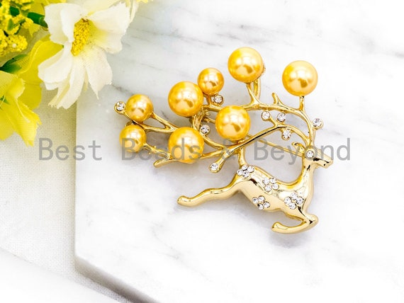 CZ Micro Pave Elk Reindeer Brooch Pin Pendant with Shell Pearls,Gold plated, Pave Elk Brooch Jewelry, Christmas gift 39x54mm, Sku#P40