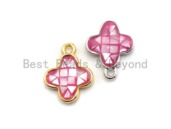 100% Natural Pink Color Shell Clover Flower Pendant Gold/Silver,  Fuchsia Abalone Shell, Natural Pink Shell Charm, 10x13mm,SKU#Z333
