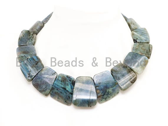 Quality Natural Labradorite Graduated 17-35mm Trapezoid Beads Strand, Natural Labradorite Gemstone Beads, 1 strand,sku#U225
