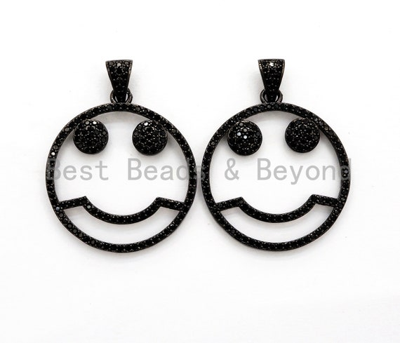 Black CZ Pave On Black Micro Pave Cute Face Round Pendant with bail,Fashion Jewelry Findings, 27x30mm, sku#F533