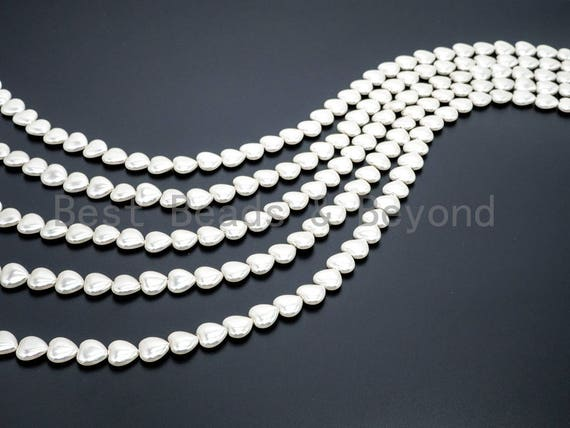 Natural Mother of Pearl beads, 5x12mm White Heart Pearl beads, White Mop heart Beads, Loose Pearl, Mother's day gift 16inch strand, SKU#T61