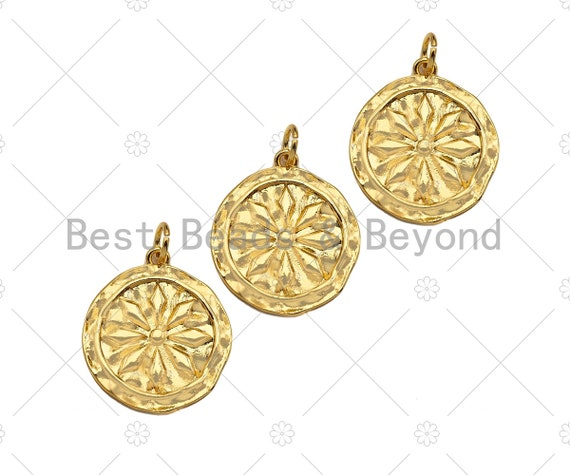 Dainty Gold Flower On Round Coin Shape Pendant/Charm,Gold Medallion Charm, Necklace Bracelet Charm Pendant,19x20mm, Sku#Z1275