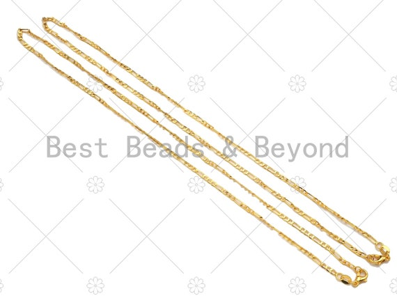 24K Gold Finished Figaro Chain Necklace, 2mm Figaro Chain Necklace, 17.5 inch with Spring Lobster Clasp,sku#JD04